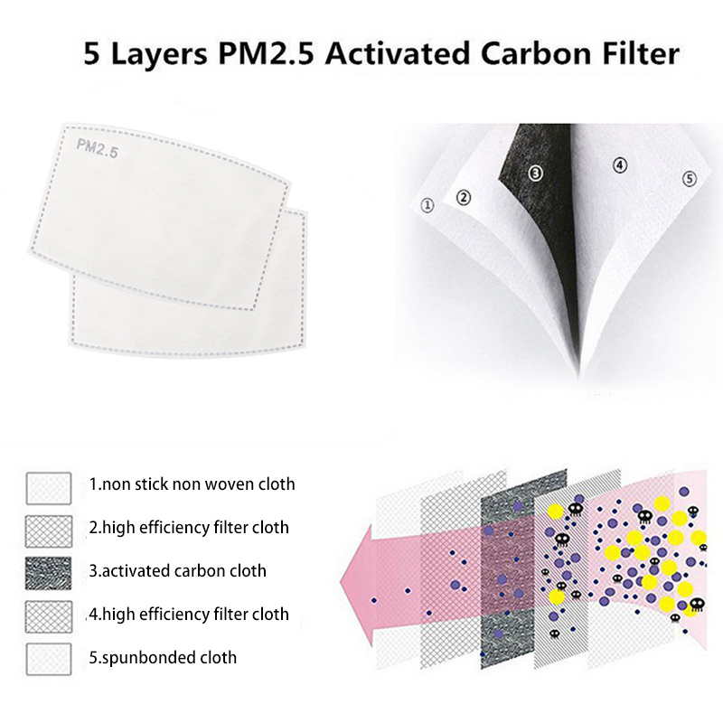 100Pcs/Set PM2.5 Anti Haze Mouth Mask Replaceable Filter-slice 5 Layers Non-woven Child Kids Activated Carbon Filter 2