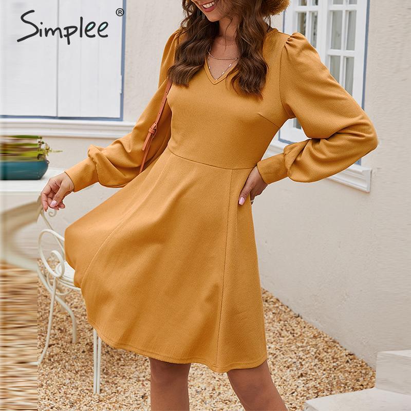Simplee Elegant Loose Short Party Dress Streetwear Lantern Strap Solid Yellow Dress V-neck Office Lady Autumn Chic Work Dress