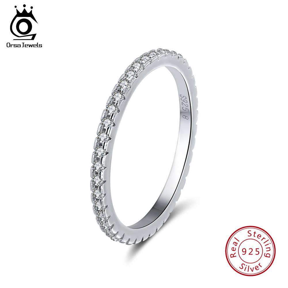 ORSA JEWELS 925 Sterling Silver Rings Women Classic Round Full Pave AAA Cubic Zircon Engagement Wedding
