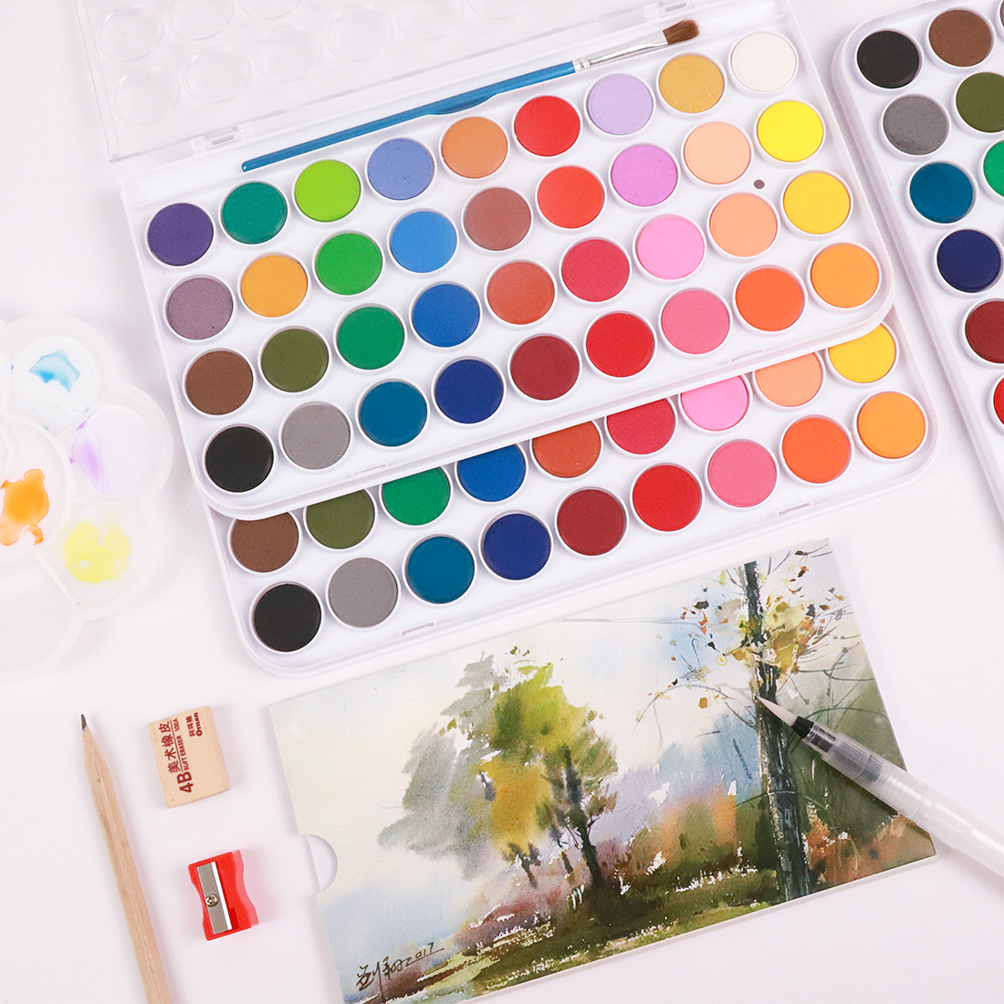 Набор профессиональных акварельных красок для рисования, набор из 36 цветов, кисти и бумага в подарок