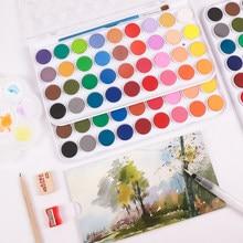36 cores aquarelas profissionais conjunto de tintas para pintura de desenho com escovas e papéis gratuitos