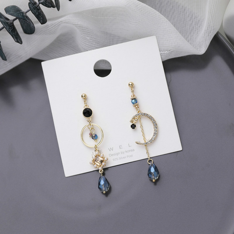 2020 New Arrival Vintage Elegant Blue Crystal Moon Fringe Drop Earrings For Women Asymmetric Drop Earring Luxury Jewelry