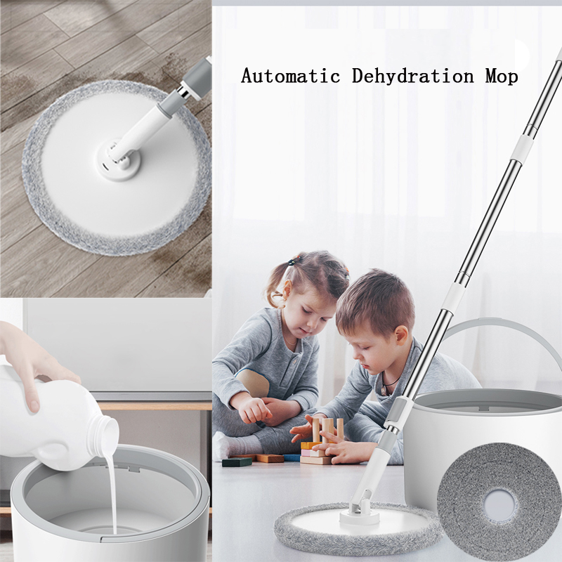 Automatic Dehydration Round 360 Rotating Head Easy Microfiber Spinning Floor Mop Head for Housekeeper Home Floor Cleaning Mop