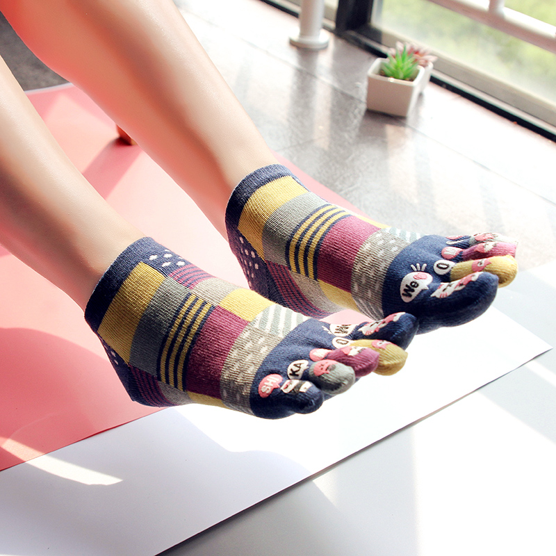 3 Pairs Cute Five Finger Socks Lady's  Cotton Breathable 5 Toe Socks Girl's Novelty Socks