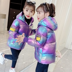 Children's cotton padded jacket new winter wear boys and Girls Hooded warm down jacket baby colorful bright face down jacket