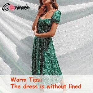 Image 2 - Conmoto夏ヴィンテージパーティードレス正方形襟セクシーなドレス浜の女性グリーン花柄midドレスvestidos