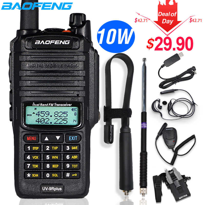 10W Baofeng UV-9R plus Walkie Talkie Tahan Air Dual Band CB Portabel Berburu Ham Radio UV 9R Plus hf Transceiver 9R Transmitter
