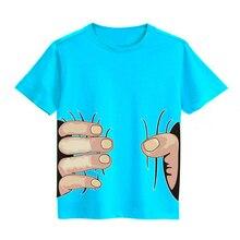 Новые летние футболки для маленьких мальчиков и девочек Детские хлопковые футболки с короткими рукавами и 3D-принтом «большая рука» Для малышей Детская одежда топы, футболки