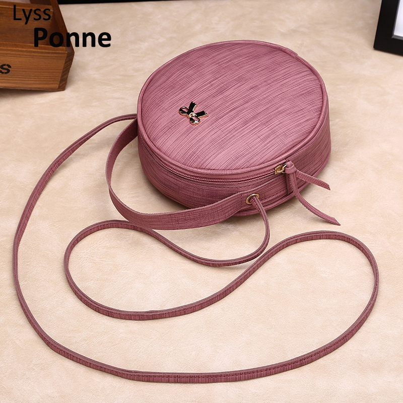 Fashion Women Bag Simple Circular Messenger Bag Female Mini Round Handbag PU Leather Ladies Phone Purse Crossbody Bag Bolsas