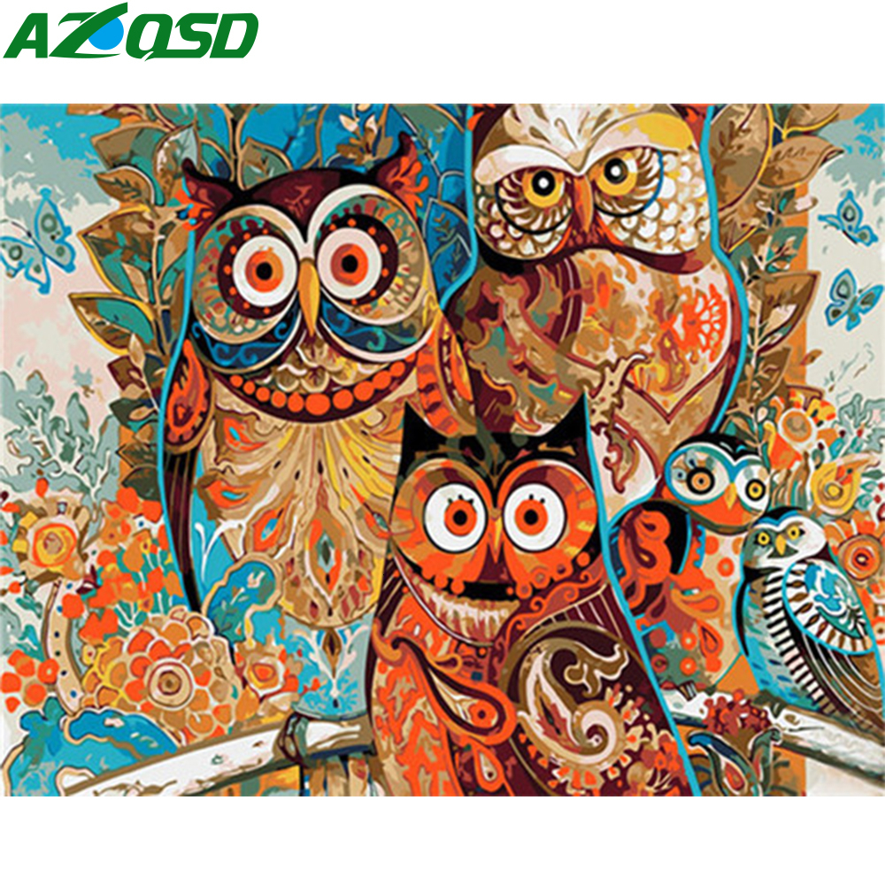 AZQSD DIY Oil Painting By Numbers Animals Wall Art Acrylic Paint Unframe Coloring By Numbers Owl Canvas Handmade Gift
