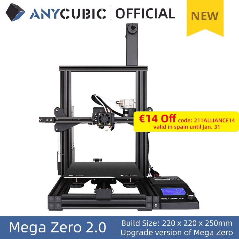ANYCUBIC-Impresora 3D Mega Zero 2,0, marco de Metal, extrusora de impresión 3d de escritorio, 220x220x250cm