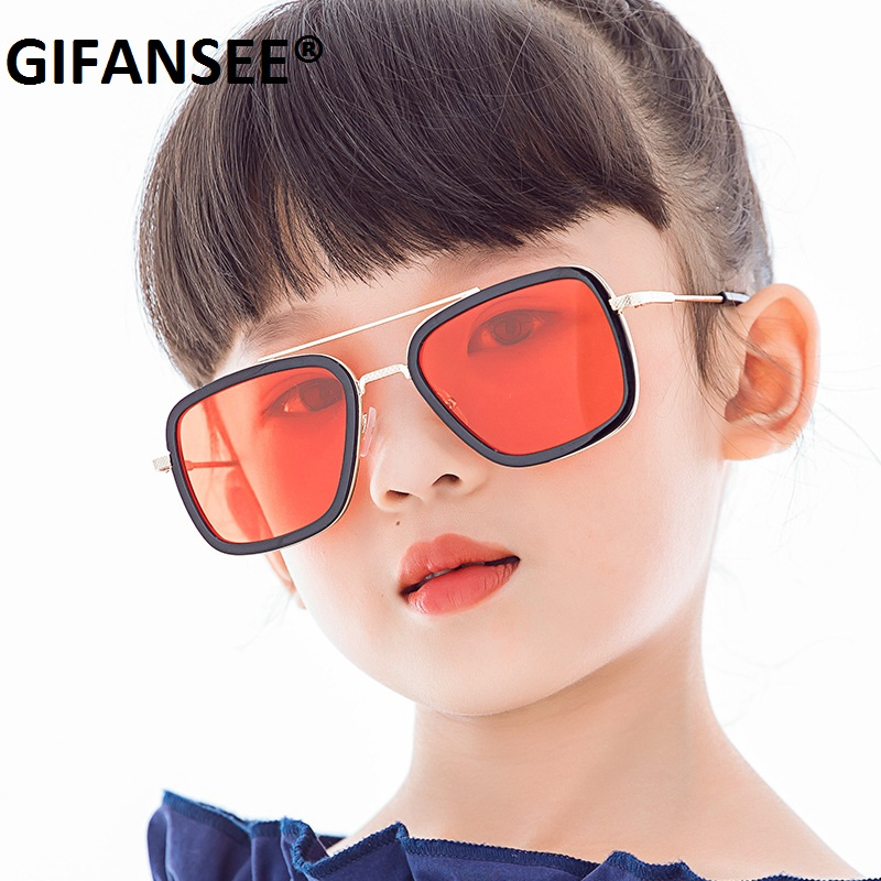 GIFANSEE child square metal sunglasses Children ba