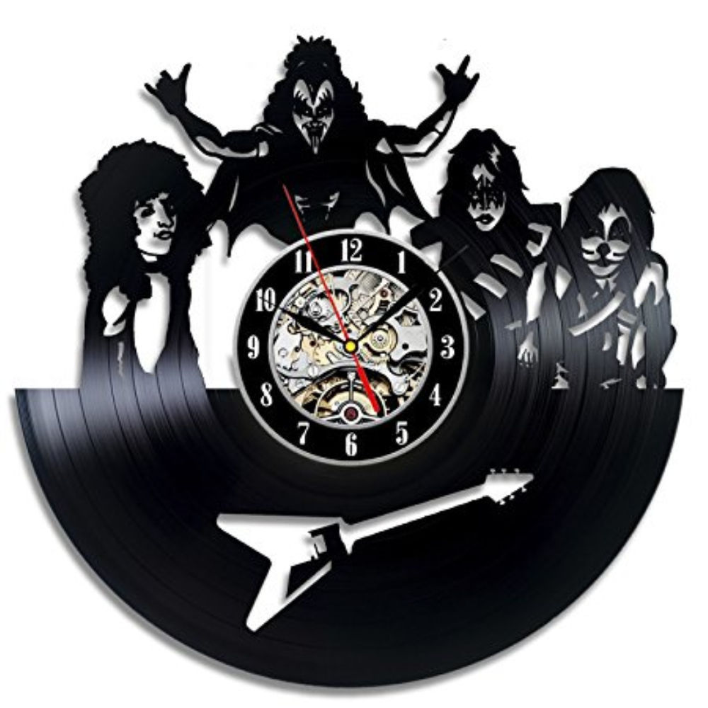 KISS Rock Band Wall Clock Modern Design For Living Room Vinyl CD Record Closks Retro Style Wall Watch Home Decor Silent 12 Inch