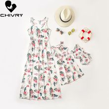 New 2020 Mother Daughter Dresses Sleeveless Floral Print Dress Mom and Sundress Family Matching Clothes