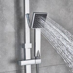 Image 3 - Chrom polerowany zestaw prysznicowy końcówka prysznica ABS i rączka prysznica czarny Facet dwa rodzaje kształtu System prysznicowy gorący mieszacz zimnej kran do wanny