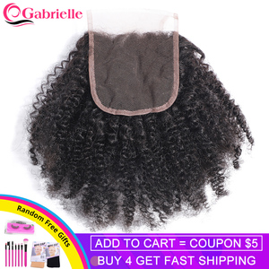 Afro Kinky Curly Closure Swiss Lace Natural Color Brazilian Human Hair 4x4 Lace Closure 10-18 Inch Remy Hair Gabrielle