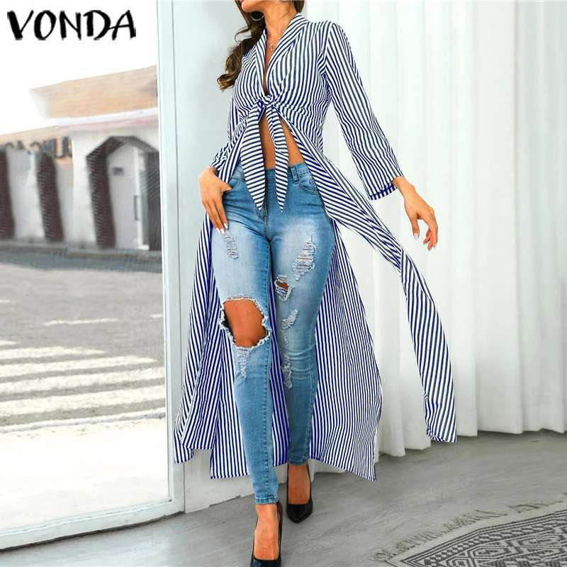 VONDA Striped Blouse Autumn Long Sleeve Vintage Printed Shirts Summer Beach Tops Sexy Party Bohemian Blusas Plus Size S-5XL