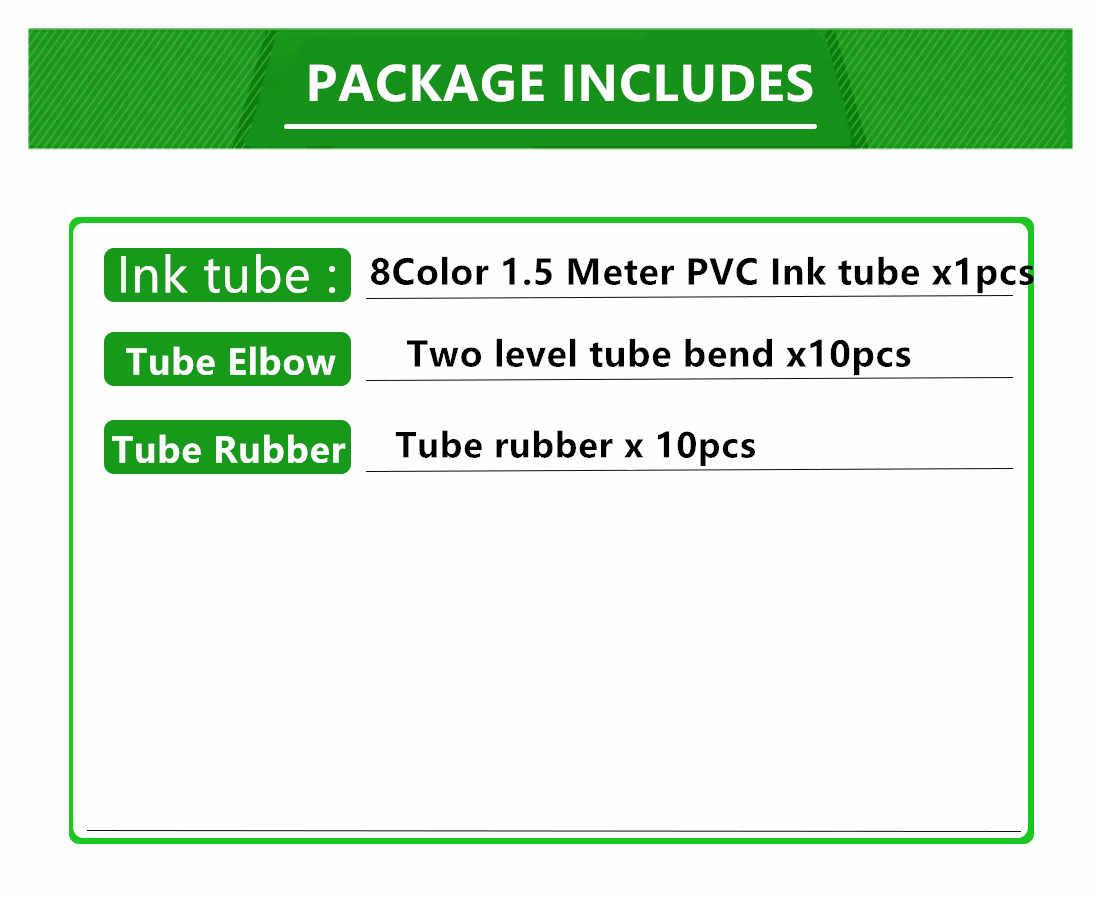 1.5M 8 สี CISS สายหลอดหมึก inktube PVC ท่อ + ข้อศอกหลอด + จุกยาง CIS CISS อะไหล่ชุดอุปกรณ์เสริม