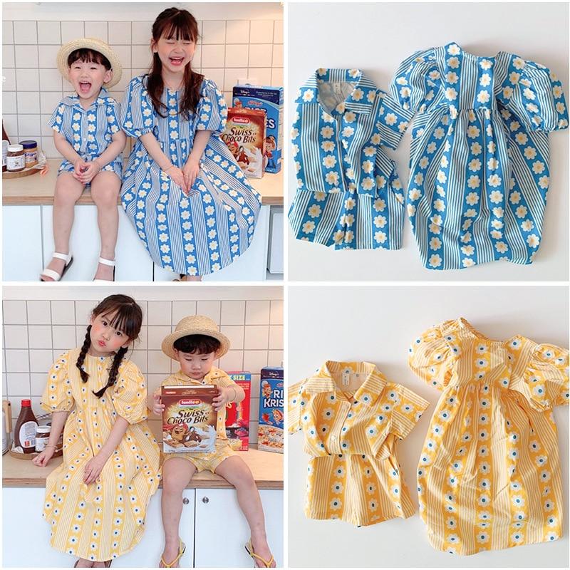 Pra-sale 20ss Summer New Children's Clothing TAO Girl Baby Floral Rural Dress Short-sleeved Shirt Suit Boy Sets