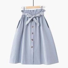 Women Skirts Elastic High Waist Slim Lace-Up Skirt Girl A-Li
