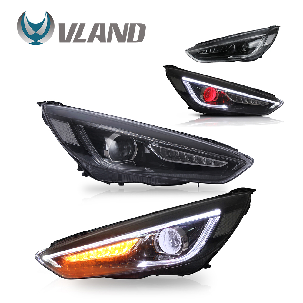 VLAND Headlamp Car Headlights Assembly For Ford Focus 2015 2016 2017 Head Light With Moving Turn Signal Dual Beam Lens/Demon Eye