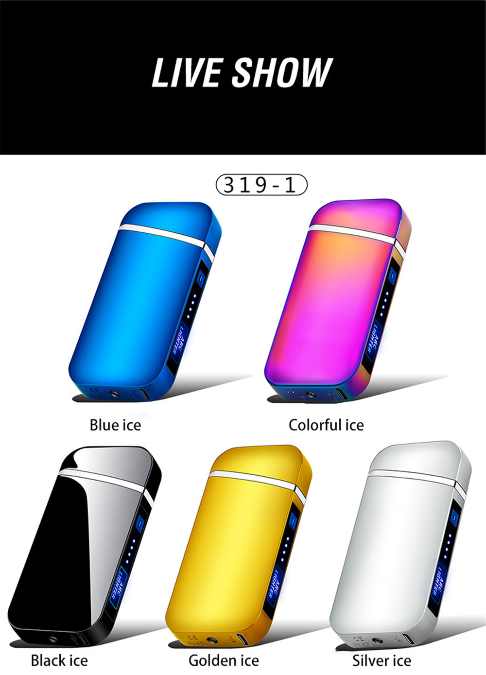 USB Electric Lighter Finger Print Touch Fire Plasma Double Arc Lighter