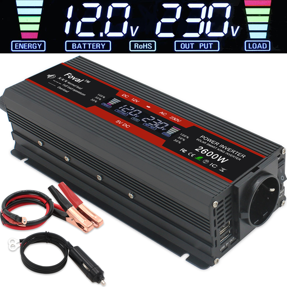 1500W 2000W 2600W power inverter Modified Sine Wave LCD display DC 12V to AC 220V Solar 2 USB car Transformer Convert EU socket