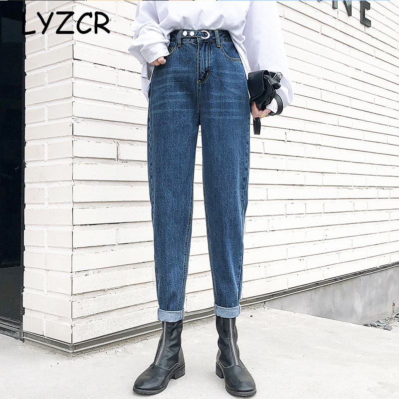 Spring 2020 High Waist Mom Jeans Loose Women Harem Boyfriend Jeans For Women Straight Jeans With High Waist Ankle-Length Pants
