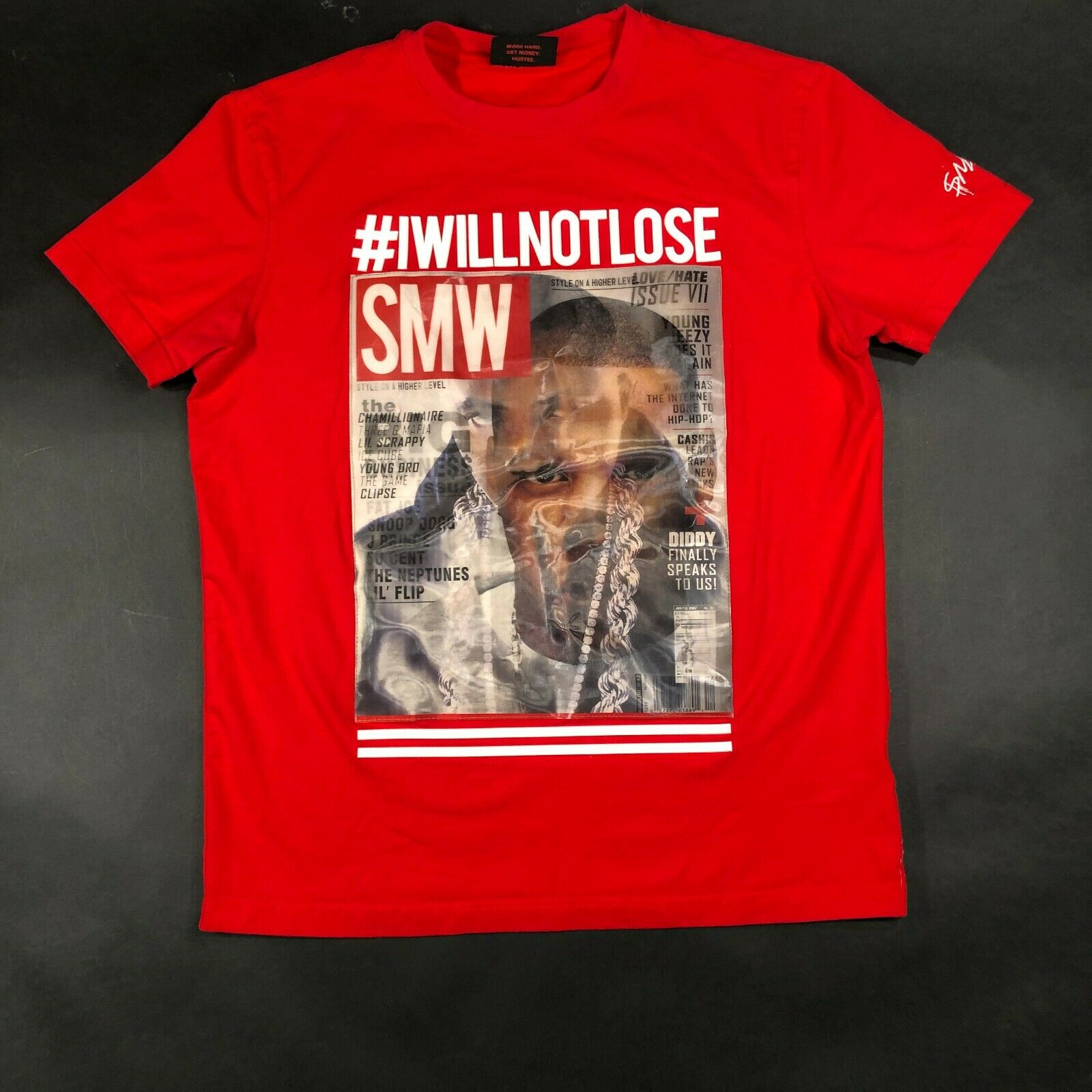 SMW Runs the World Jay Z NaS Ether Takeover Red Reflective Tee T Shirt Mens M Print T-Shirt Men image