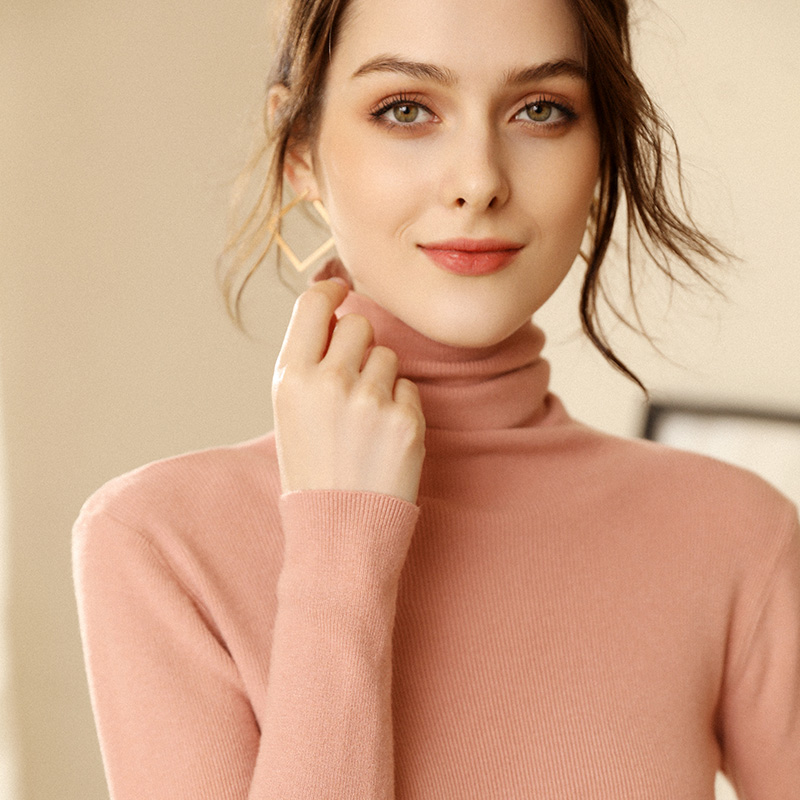 Autumn and Winter New Cashmere Sweater Women High Collar Pullover Fashion Sweater Warm Bottom Sweater 15