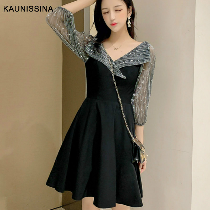KAUNISSINA Simple Cocktail Dress Women Mini Party Gown Bling Sequins V-Neck Collar 3/4 Sleeve Cocktail Robe Homecoming Dresses
