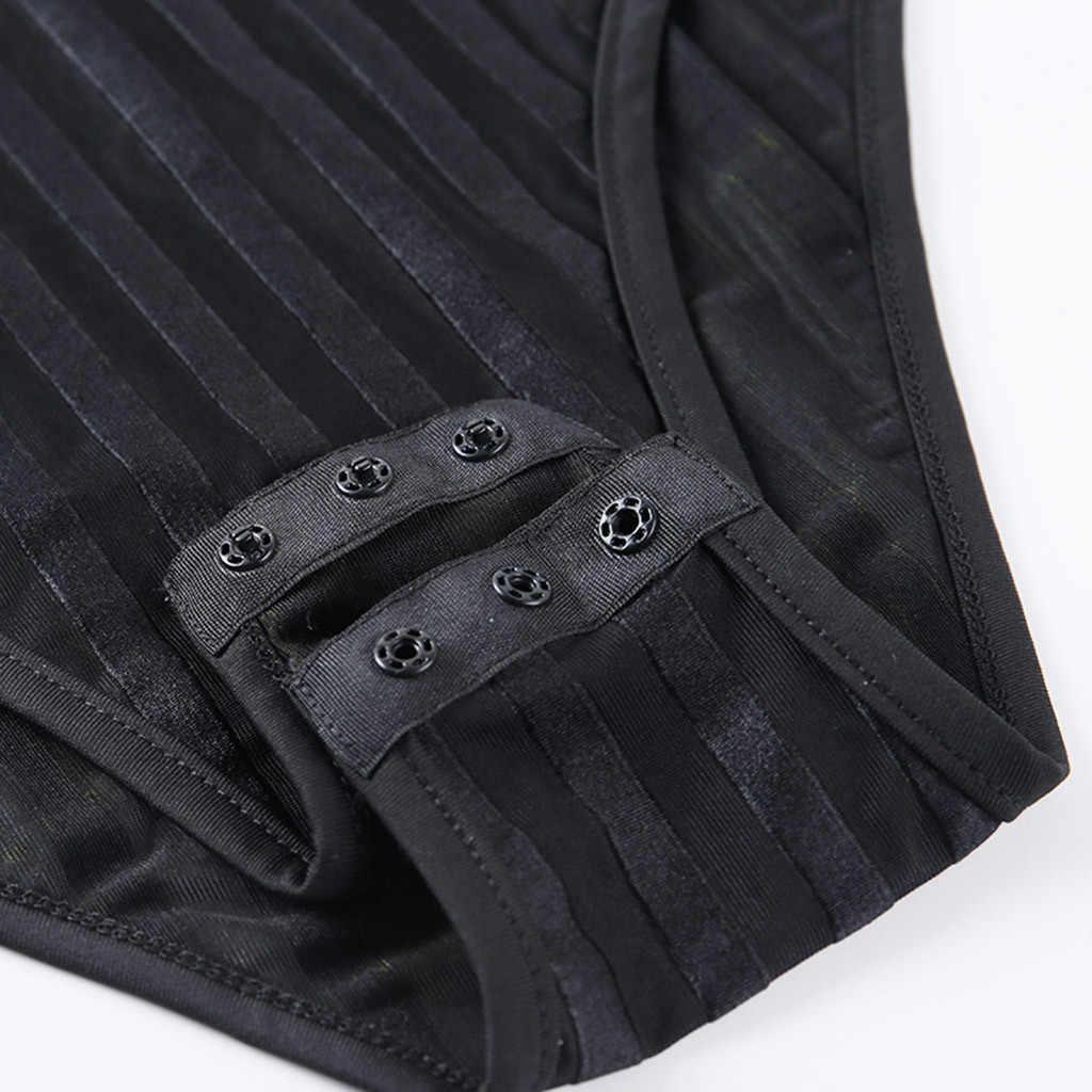 & 35 נשים Rompers סרבלי אופנה סקסי פס מוצק רשת חתיכה אחת ארוך שרוולים סרבל Rompers נשים סרבל מכנסיים קצרים