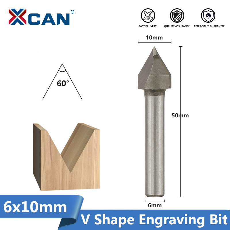 """CNC 60°Router Engraving Wood Working 3D V Groove Bit 6x10mm 1//4/"""" Cutter Tool"""