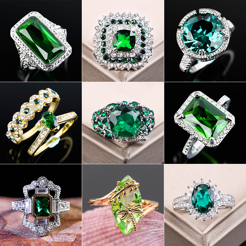Large Green Stone Ring For Women Wedding Gift Luxury Jewelry Color Cubic Zirconia Ring Bague Femme Anillos Mujer Z5X873