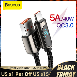 Baseus 5A Type C Cable for Red Mi Note 9 Huawei P40 P40 Pro USB LED Display Type C Cable Fast Charger USB C Wire Code Data Cable
