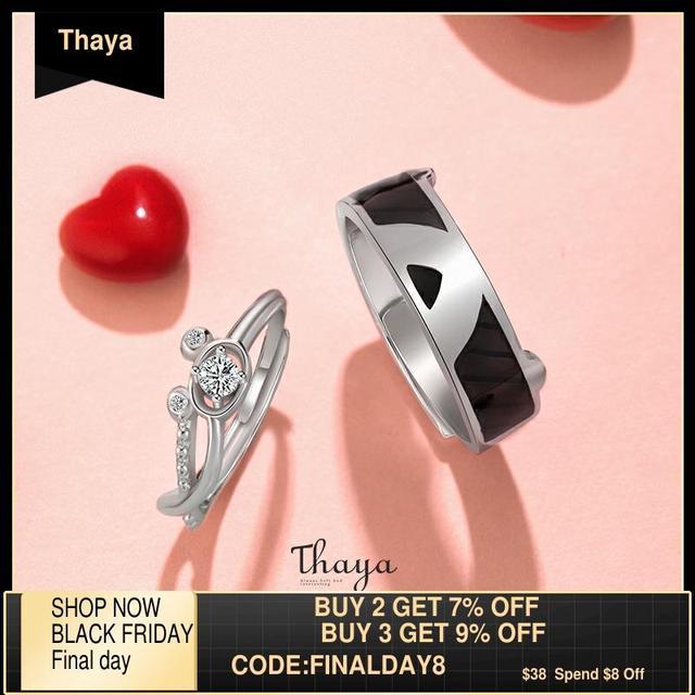 Thaya S925 ayar gümüş kristal güzel ayı yüzükler orijinal tasarım kadınlar için zarif yüzük güzel takı hediye