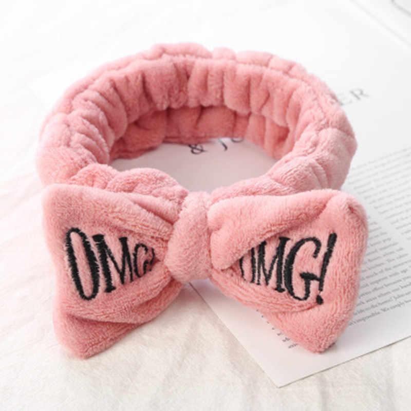 """Diademas de lazo Coral suave con letras """"OMG"""", para mujeres y niñas, soporte para el pelo bonito, diademas, accesorios para el pelo"""