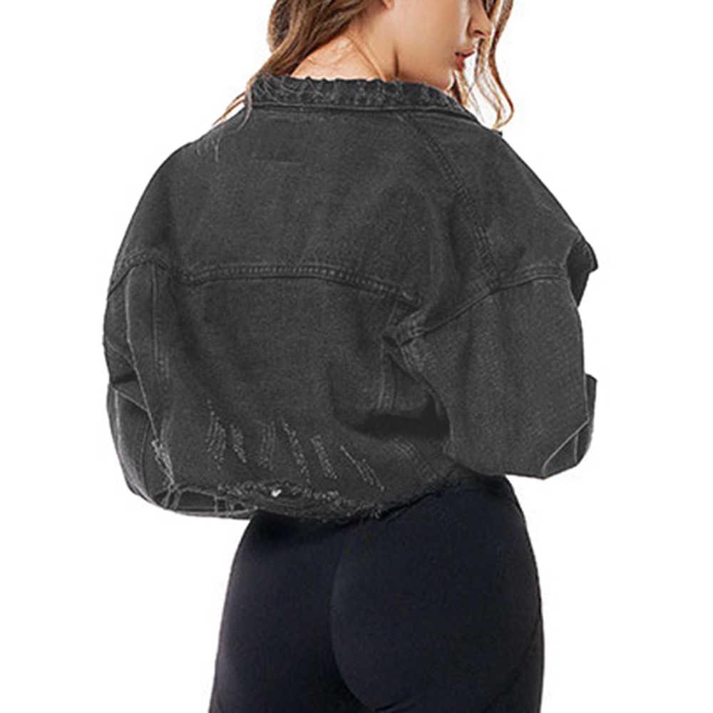 2019 moda damska płaszcz czarny opuszczane ramiona z długim rękawem postrzępione Hem zgrywanie Denim kurtka damska jednorzędowa jednolita, krótka kurtka