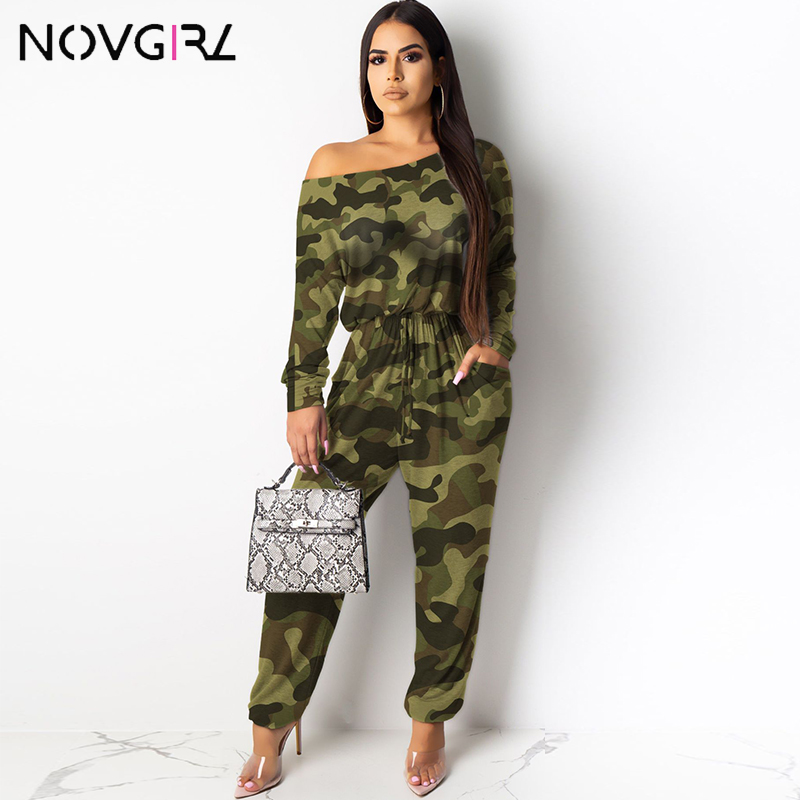 Novgirl Camouflage Leopard Plaid Cotton Jumpsuit For Women Pocket Drawstring Casual Loose Rompers Streetwear Women Jumpsuit