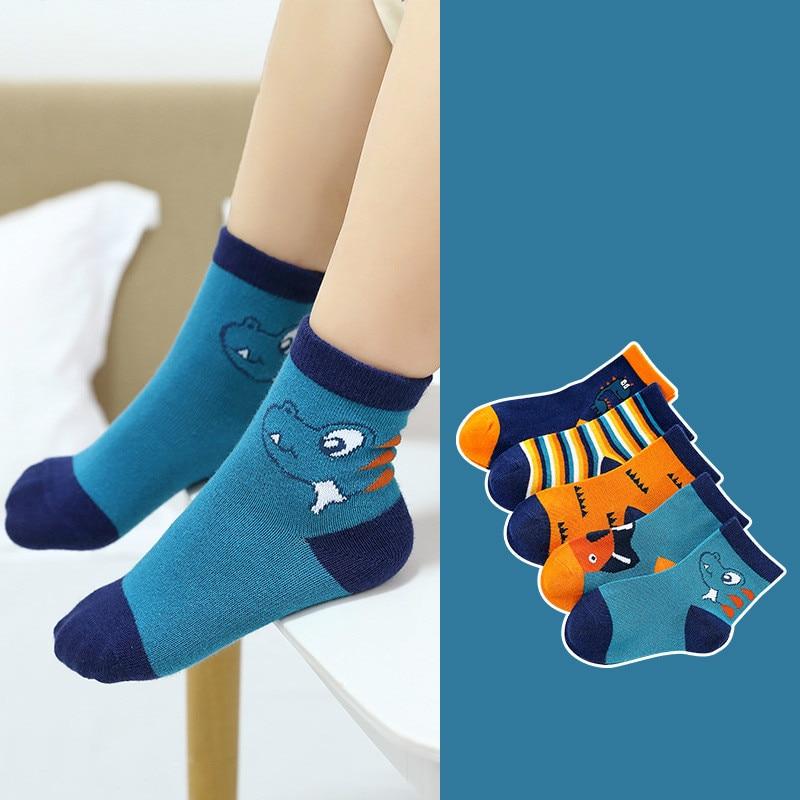 5Pair/lot Children Cotton Boys Girls Socks Cute Cartoon Pattern Kids Socks For Baby Boy Girl Sport Style Suitable For 1-10Y 3