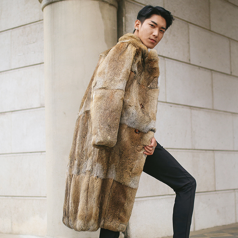 Men's Long Winter Men Natural Rabbit Coat Warm Overcoat Real Fur Jacket Fashion Luxury Coats 1612 KJ3331