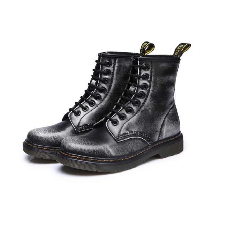 Sepatu Martin Sepatu Bot Kulit Split Sol Tinggi Sepeda Motor Atas Sepatu Bot Musim Dingin/Musim Gugur Doc Martin Sepatu Wanita