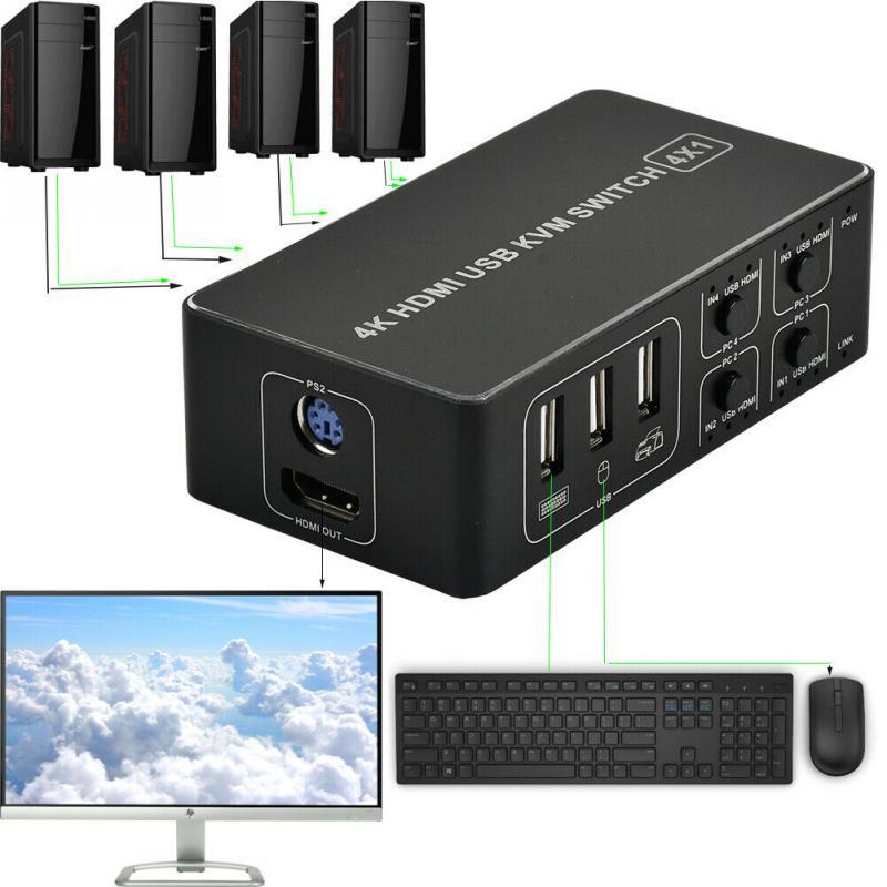 KVM-переключатель 4K Ultra HD, стабильная USB-мышь, клавиатура, концентратор с 4 портами, Система отключения, антиокисление, Plug & Play