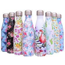 Floral Flamingo Water Bottle Stainless Steel Thermos Water+Bottles Tea Cup Gym Sport Drink Beer Coffee Mug Protein Shaker