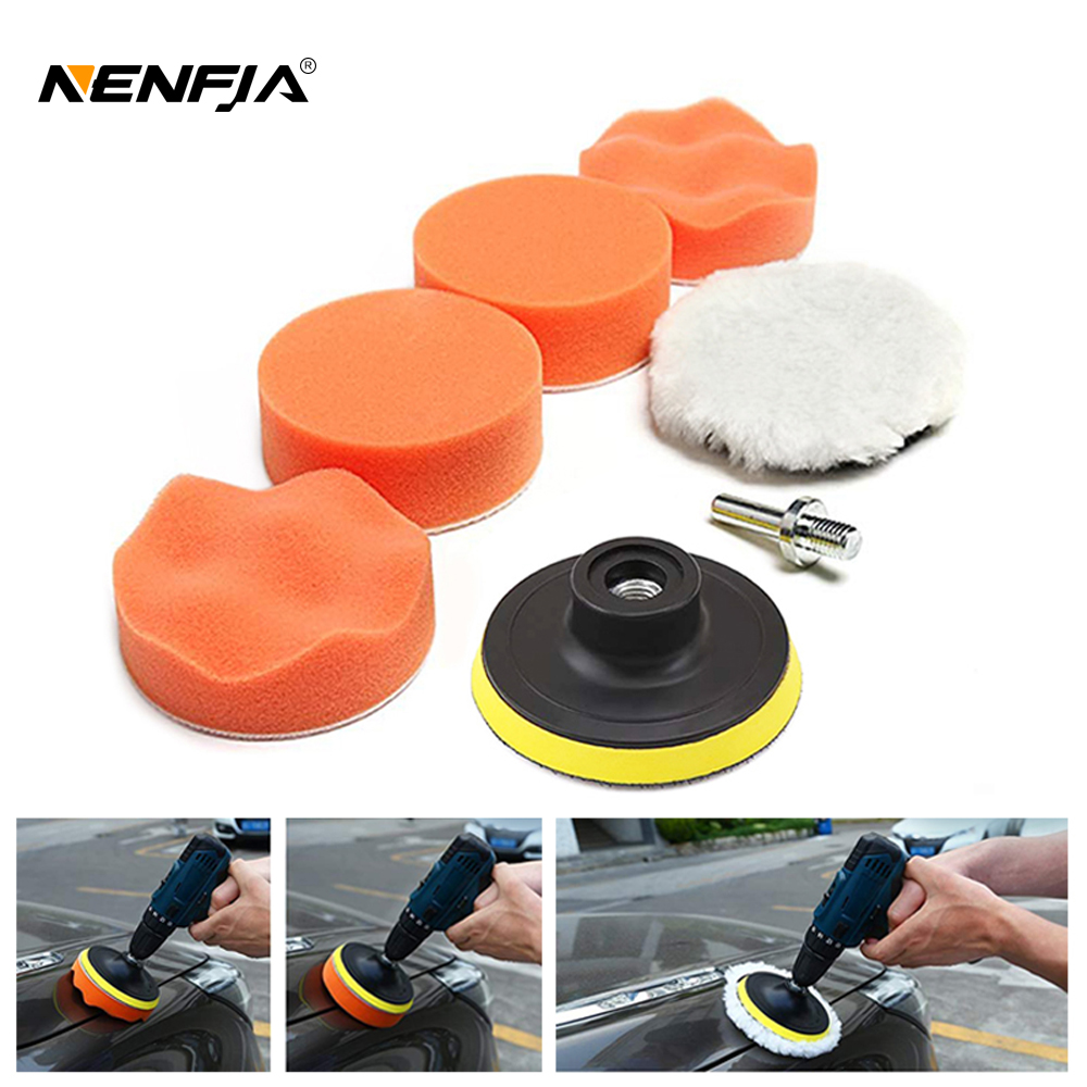 7pcs 3 Car Sponge Polishing Pad Set Polishing Buffer Waxing Adapter Drill Kit for Auto Body Care Headlight Assembly Repair