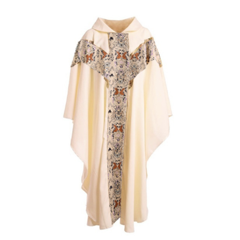 INCERUN Men Priest Costume Catholic Formal Men Church Clergy Vestments Cassock Chasuble Hooded Robe Halloween Cosplay Costume