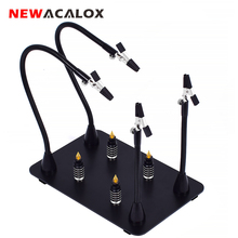 NEWACALOX מגנטי PCB לוח קבוע קליפ גמיש זרוע הלחמה שלישי יד 5X זכוכית מגדלת זכוכית הלחמה ברזל מחזיק תיקון כלים