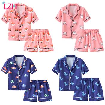 Komplet piżam dziecięcych maluchów bielizna nocna 2020 letnich Pijamas dla chłopców odzież piżama dla małych dziewczynek garnitur chłopców piżamy odzież dziecięca tanie i dobre opinie Poliester Cartoon Skręcić w dół kołnierz Unisex Krótki REGULAR 90-100-110-120-130 fashion Pasuje prawda na wymiar weź swój normalny rozmiar