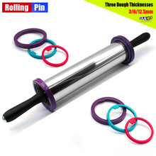 Dough-Roller Rolling-Pin Thickness-Rings Adjustable Removable Pizza Baking with 3
