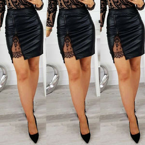 2 Styles Womens PU Leather Lace Mini Skirt Female Ladies Sexy High Waist Zipper Pencil Skirts Outfits S-XL